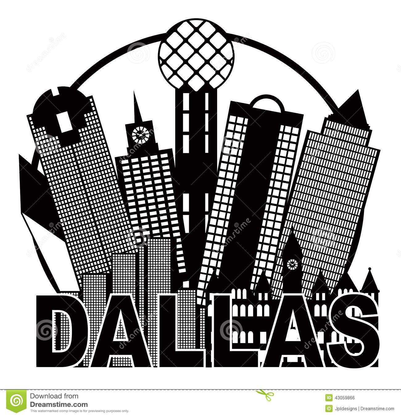 dallas city skyline black and white circle vector illustration stock