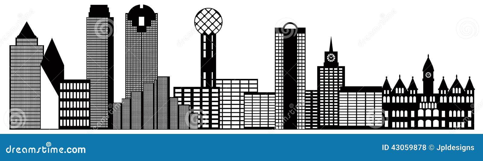 Dallas Skyline Black Outline 92