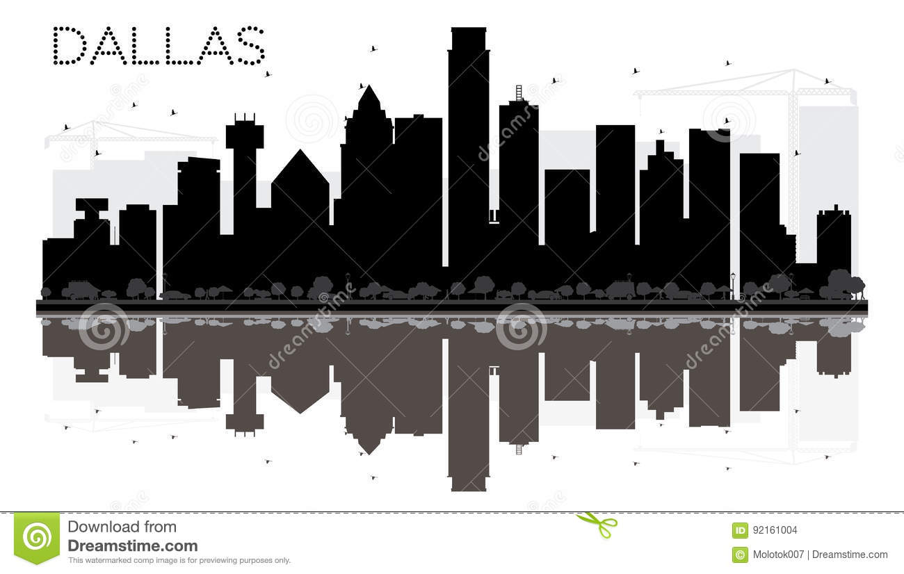 Dallas City Skyline Black And White Silhouette With Reflections