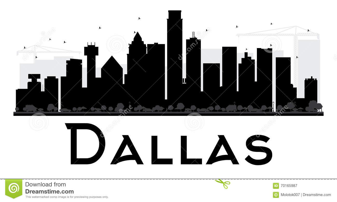 dallas city skyline black and white silhouette stock vector