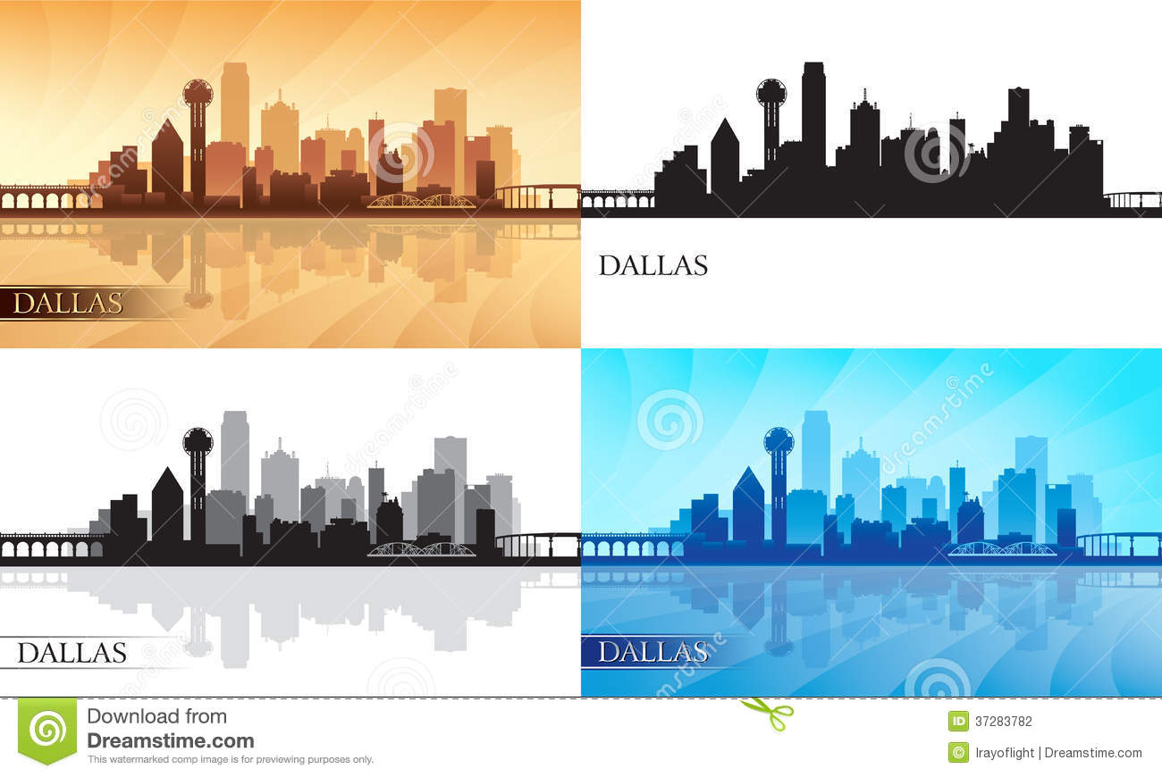 dallas city skyline silhouettes set stock vector illustration of