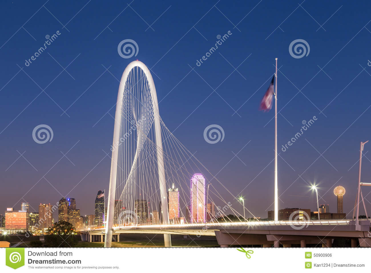 Download Dallas Downtown Skyline With Margaret Hut Hills Bridge At Night Stock Photo - Image of hunter, building: 50900906