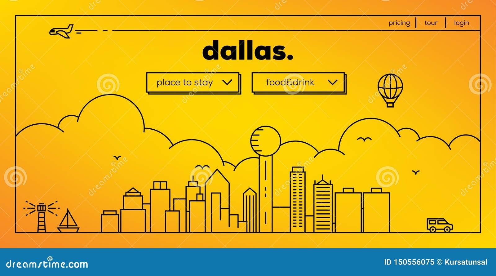 Dallas Modern Web Banner Design met Vector Lineaire Horizon