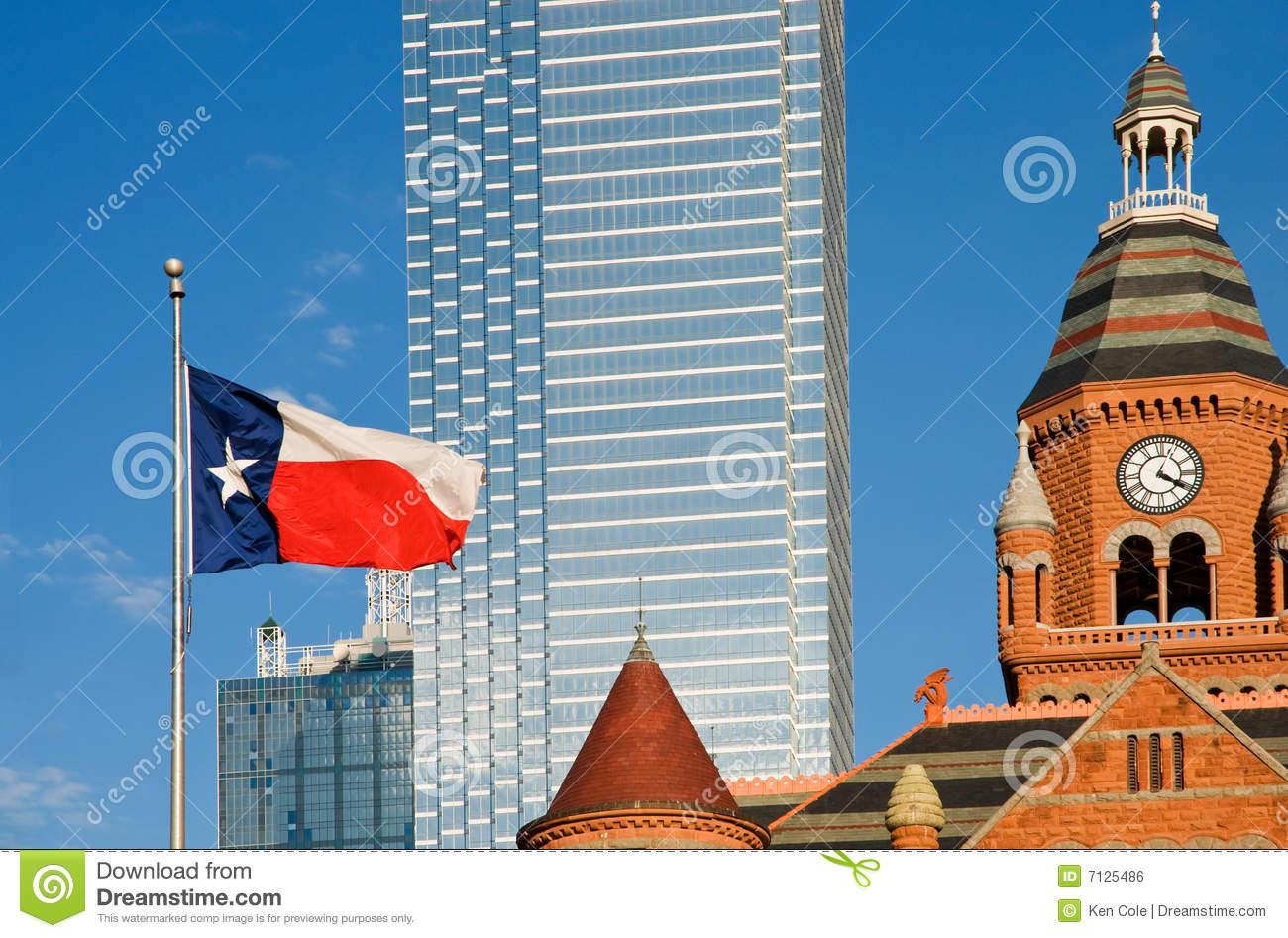 Dallas museum and Texas flag
