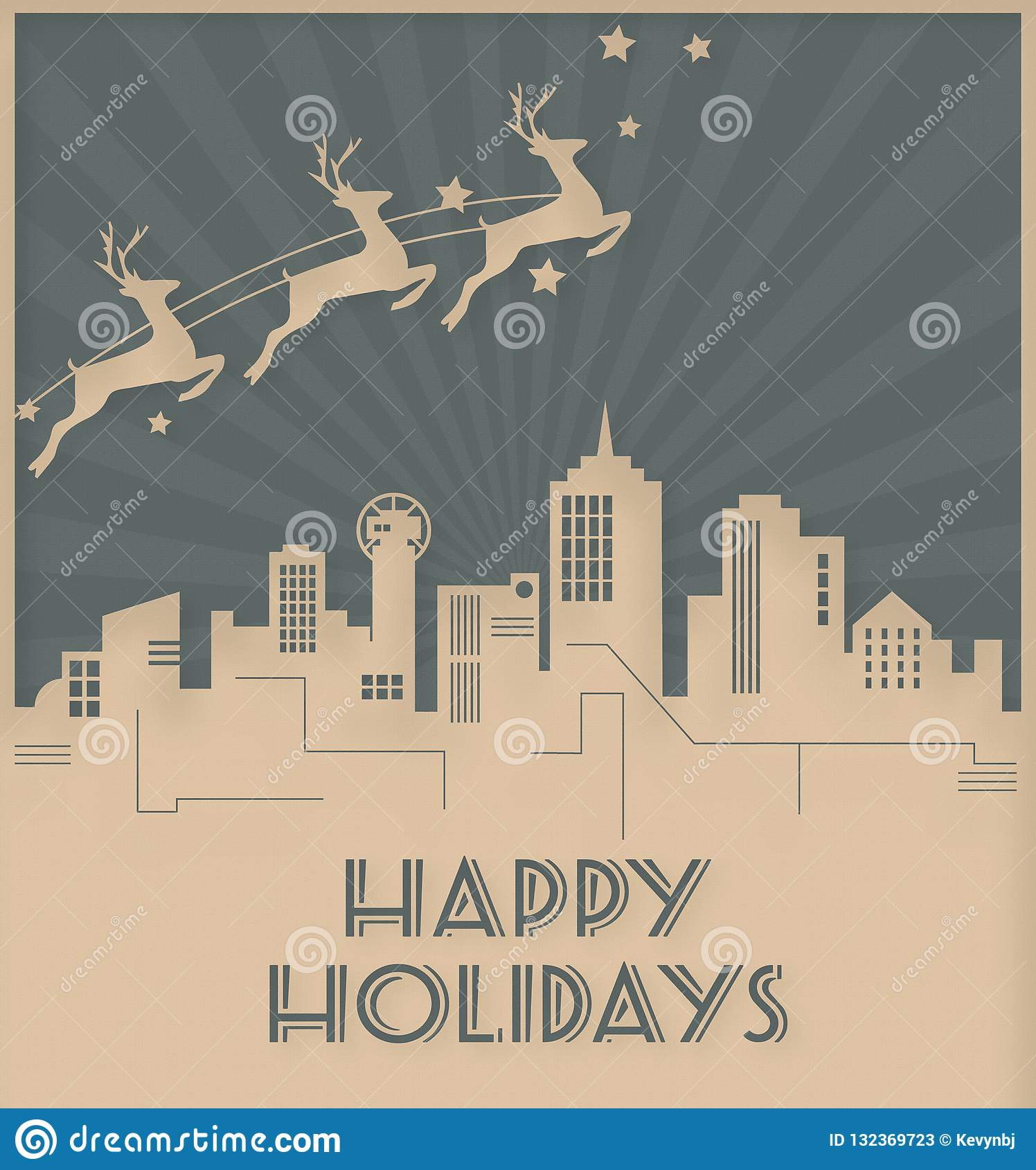 Christmas In Chicago Skyline.Dallas Skyline Christmas Holiday Card Art Deco Style Stock