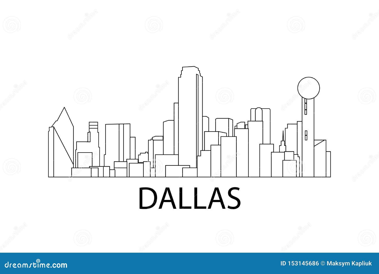 Dallas Skyline Ilustraci?n del vector Dallas, Tejas, los E.E.U.U.