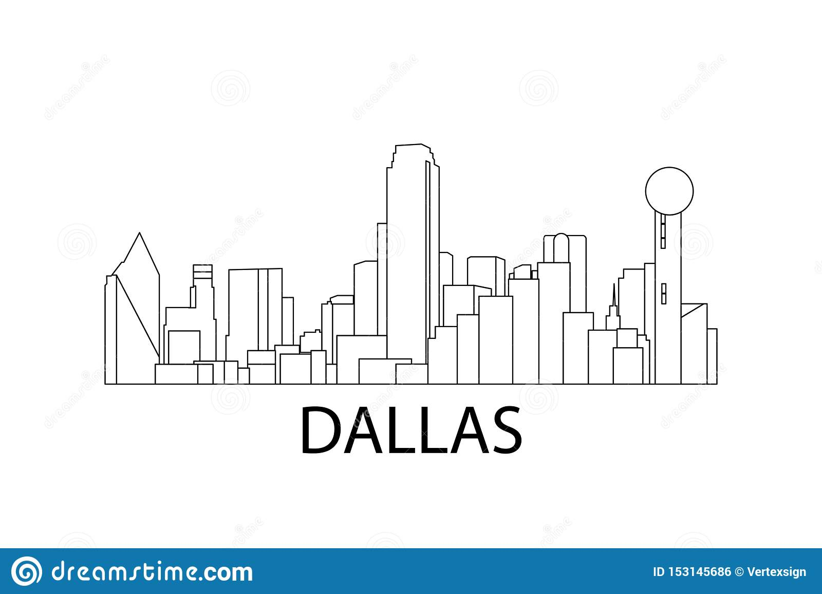 Dallas Skyline ocks? vektor f?r coreldrawillustration Dallas Texas, USA