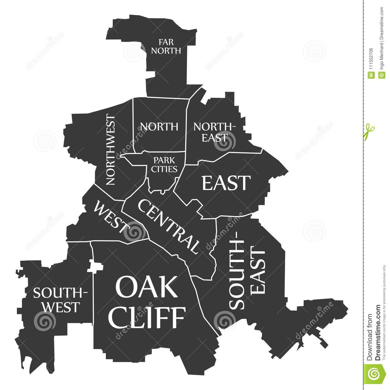 Map Of Texas Cities Only.Dallas Texas City Map Usa Labelled Black Illustration Stock