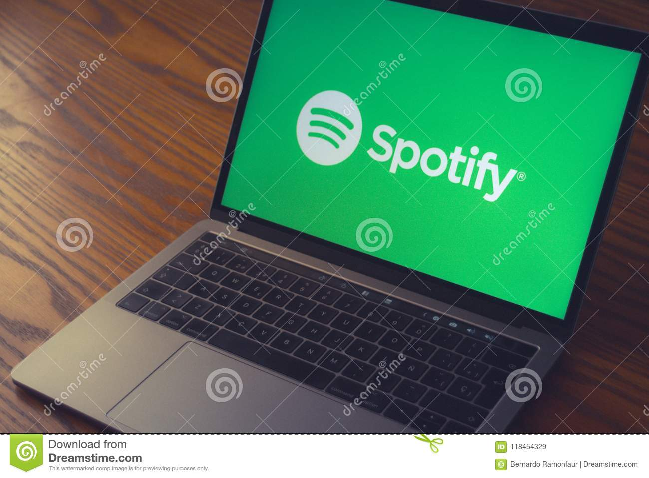 Spotify Logo On Computer Screen Editorial Stock Image