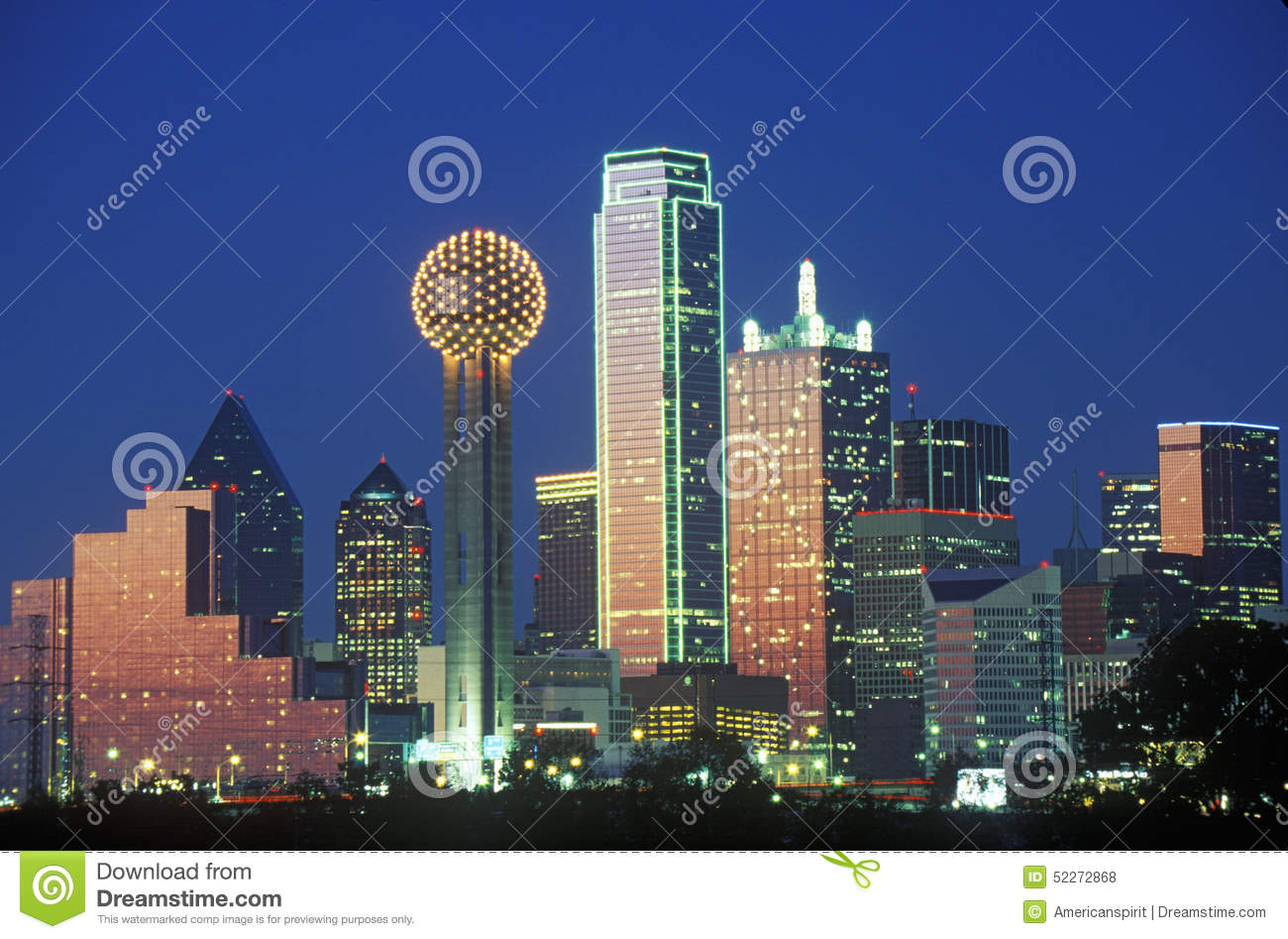 Download Dallas, TX Skyline At Night With Reunion Tower Stock Photo - Image of dallas, cityscapes: 52272868