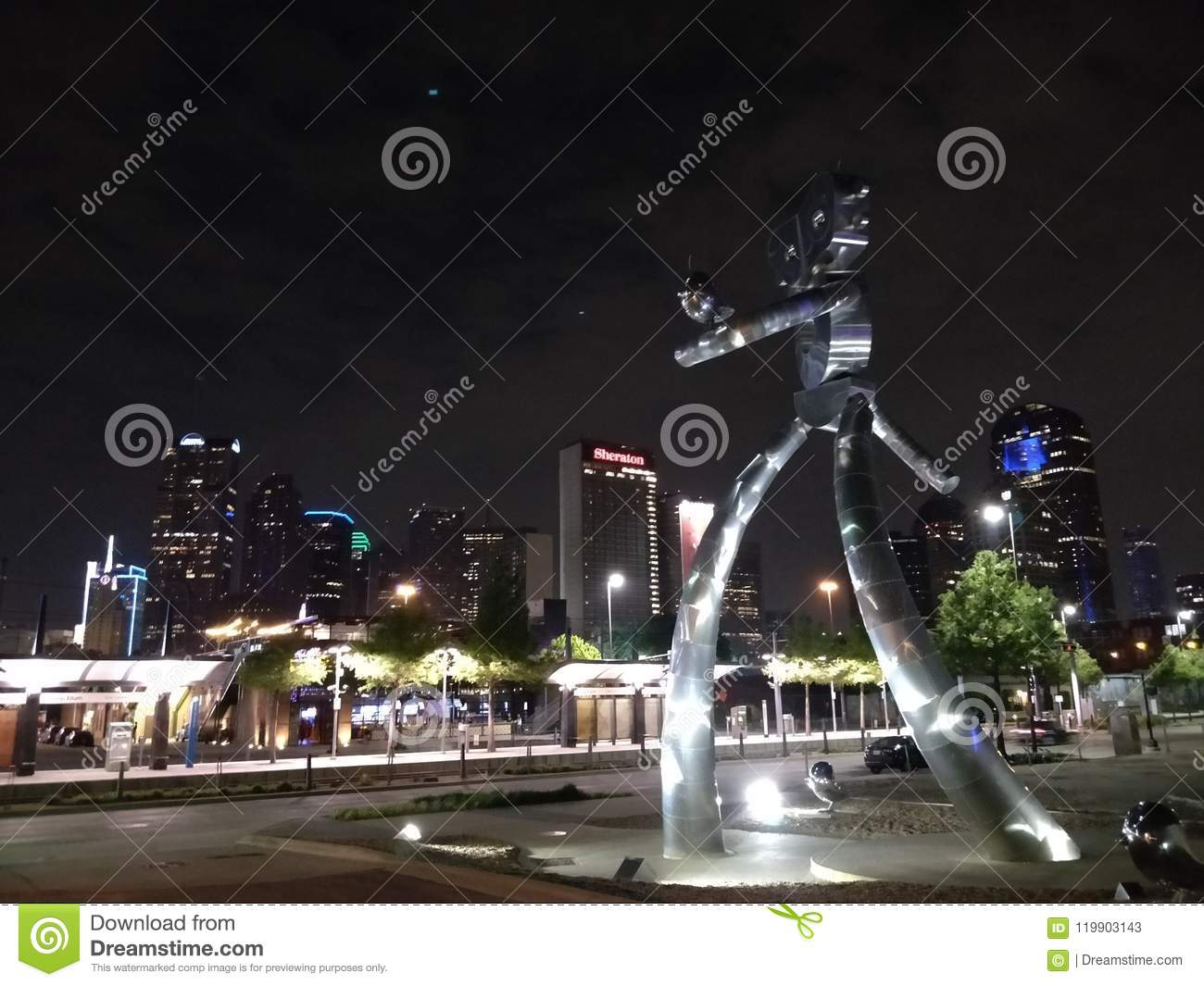 Dallas, Tx skyline with robot