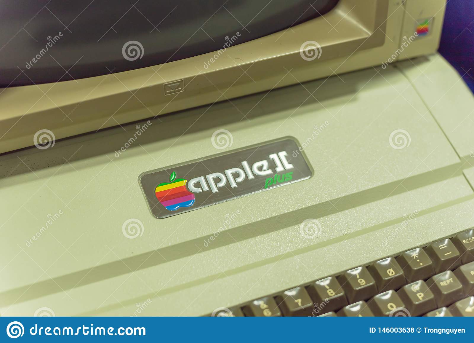 Close-up logo of old Apple II computer