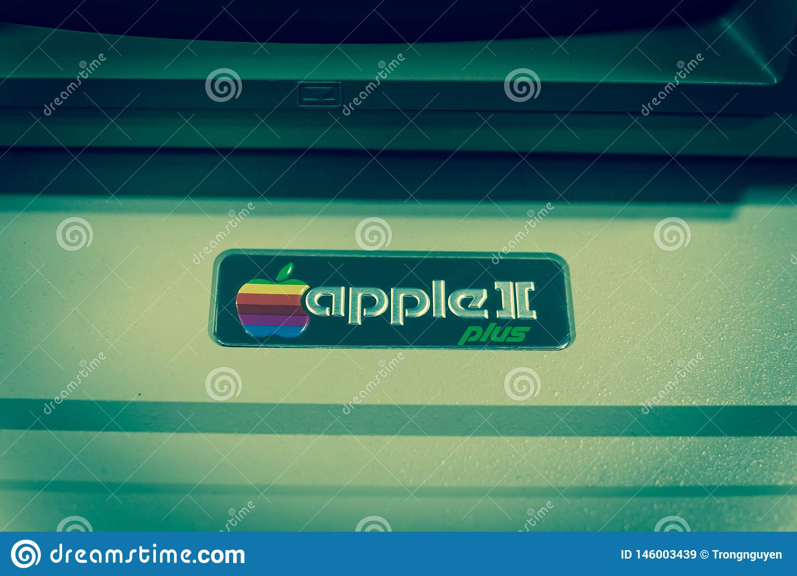 Filtered image close-up logo of old Apple II computer
