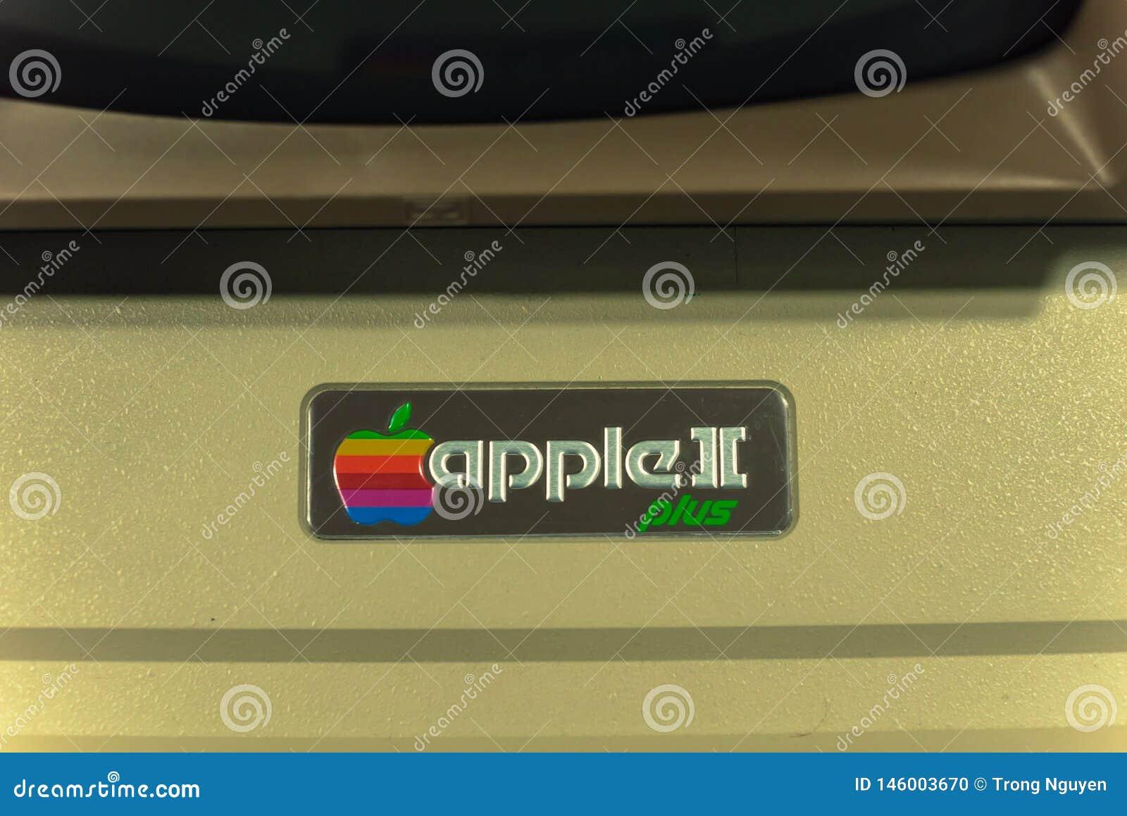 Filtered image close-up logo of old Apple II computer