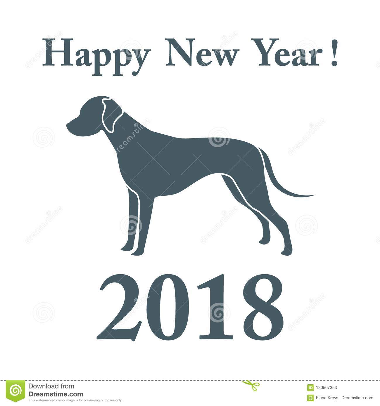 Dalmatian Silhouette And Inscription Happy New Year. Stock Vector ...