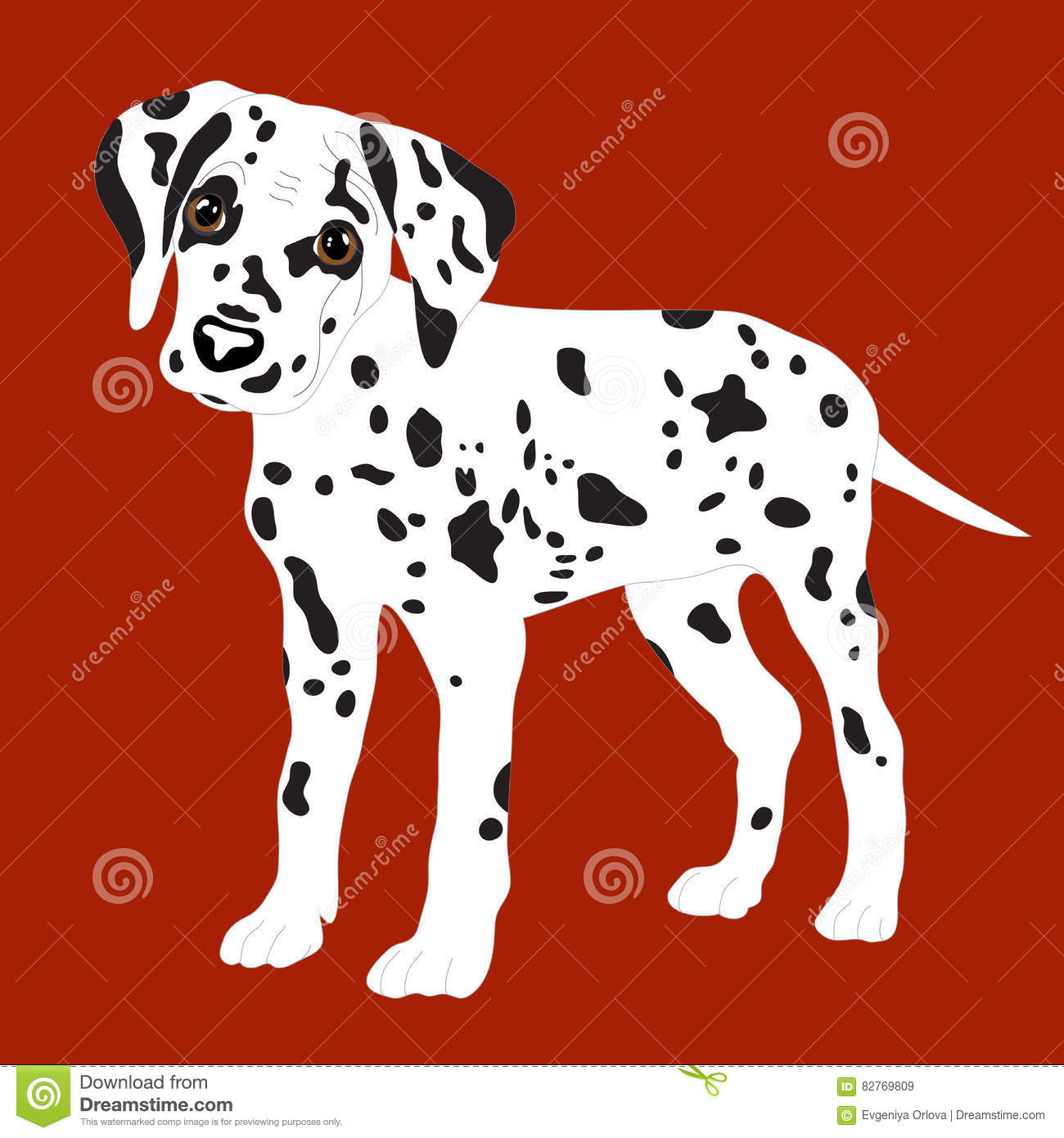 Dalmatians Cute Puppy Sad Vector Illustration Portrait Of Dalmatian Puppy Dog Isolated Stock Illustration Illustration Of Drawing Cheerful 82769809