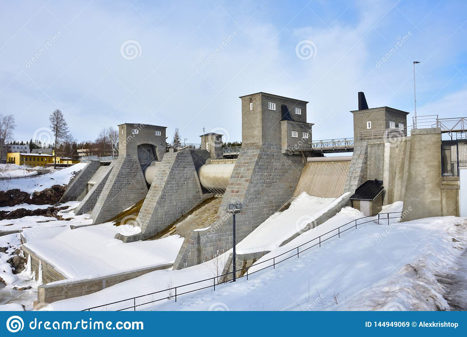 Dam of hydroelectric power plant in winter, Finland, Imatra