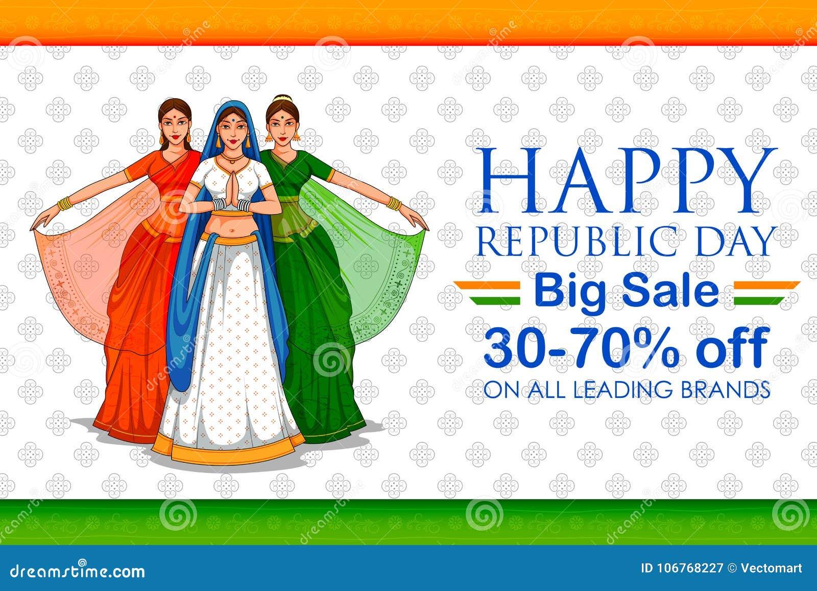 Dam i Tricolor saree av den indiska flaggan för 26th Januari lycklig republikdag av Indien