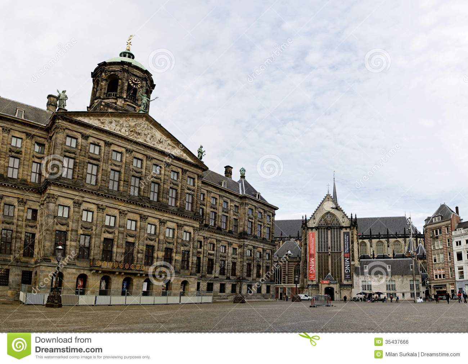 Dam square in amsterdam stock photo image of kerk city for Dam in amsterdam