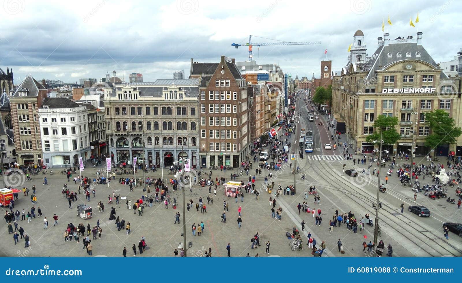 Dam square view amsterdam editorial stock photo image of for Appartamenti piazza dam amsterdam