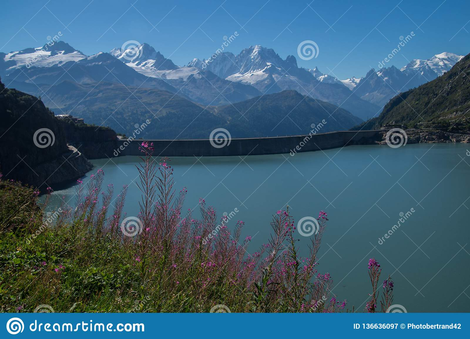 Dam in the Swiss Alps in Valais