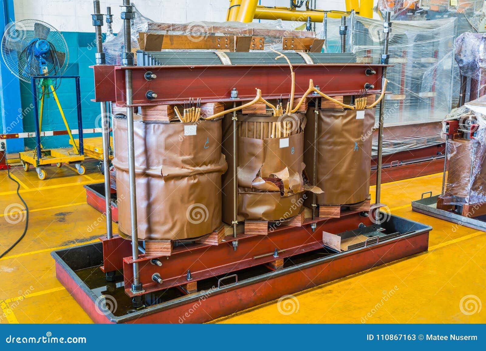 Damage Three Phase Transformer Stock Image - Image of iron, core
