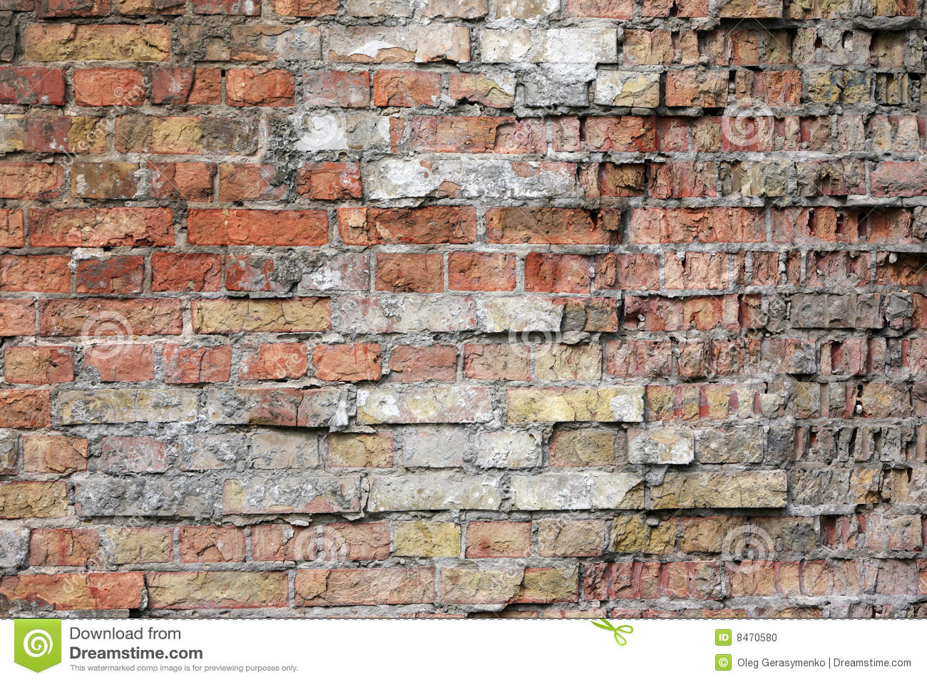 Damaged Brick Wall Texture Stock Photo Image 8470580