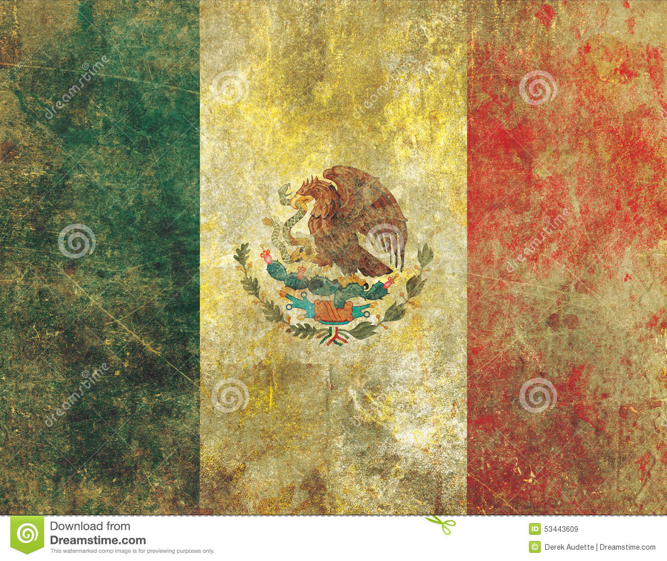 damaged and faded old grunge style mexican flag stock illustration