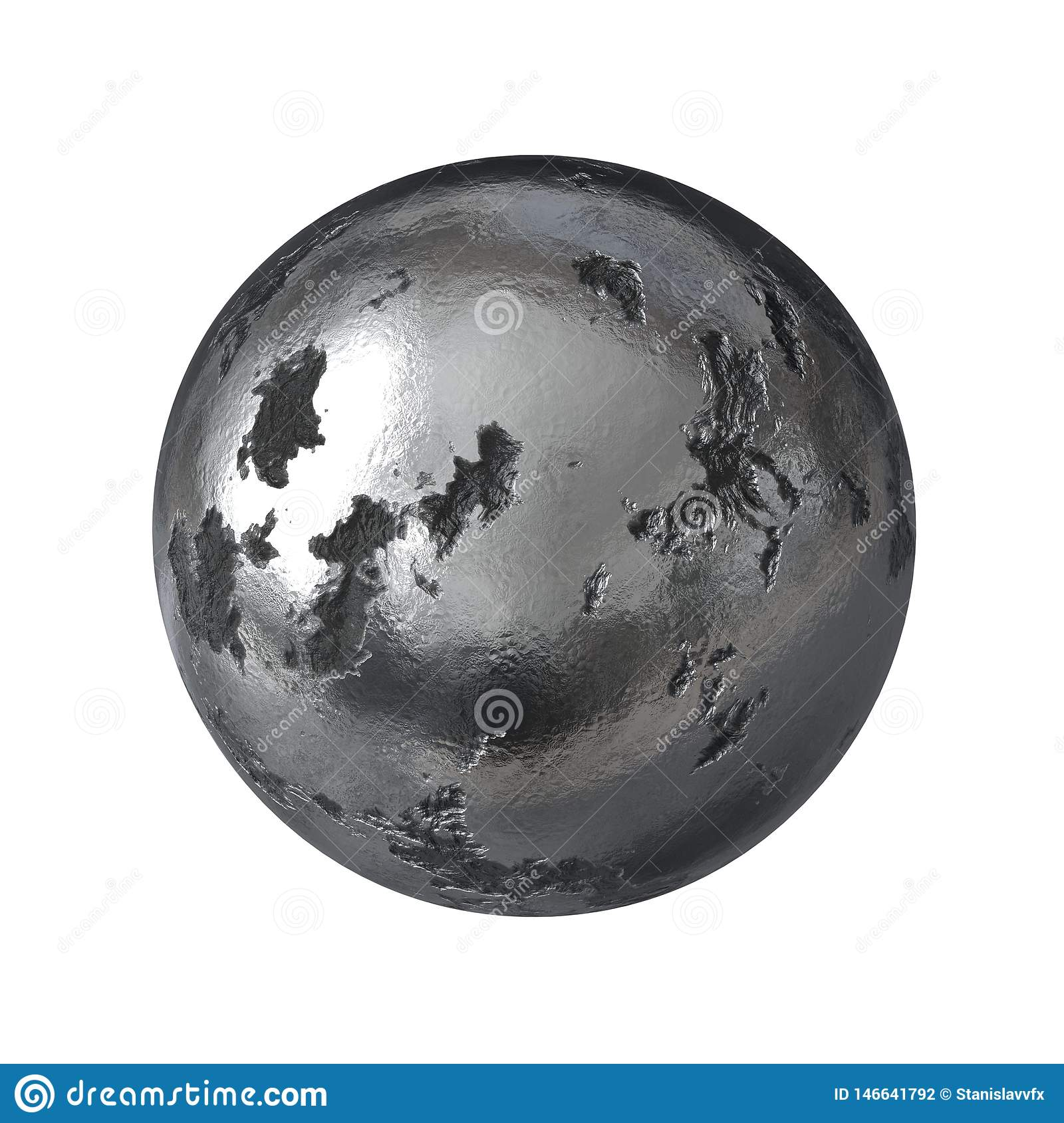 Damaged Metal Sphere isolated on white background