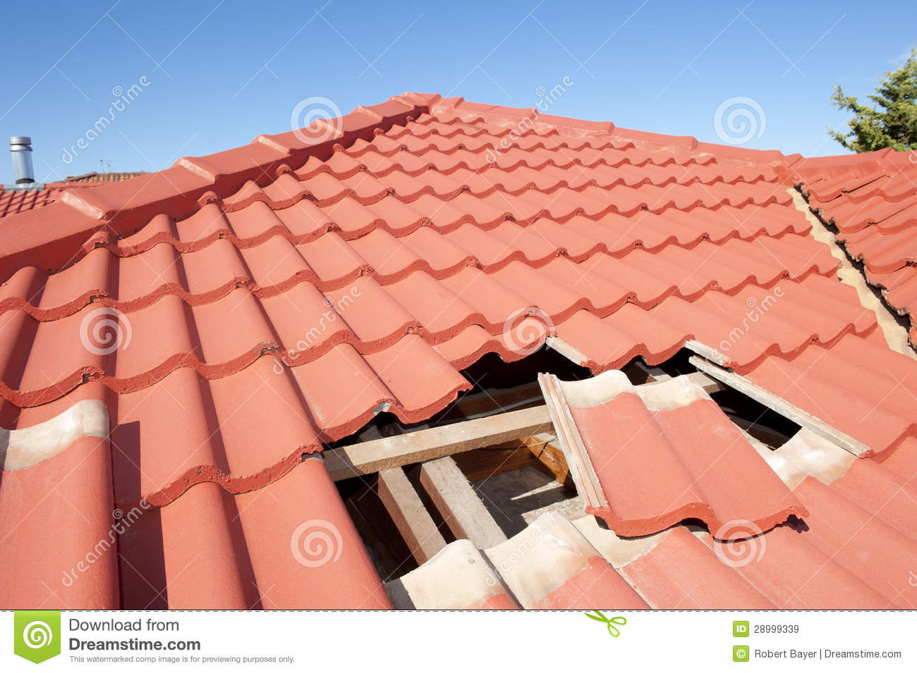 Damaged Red Tile Roof Construction House Royalty Free