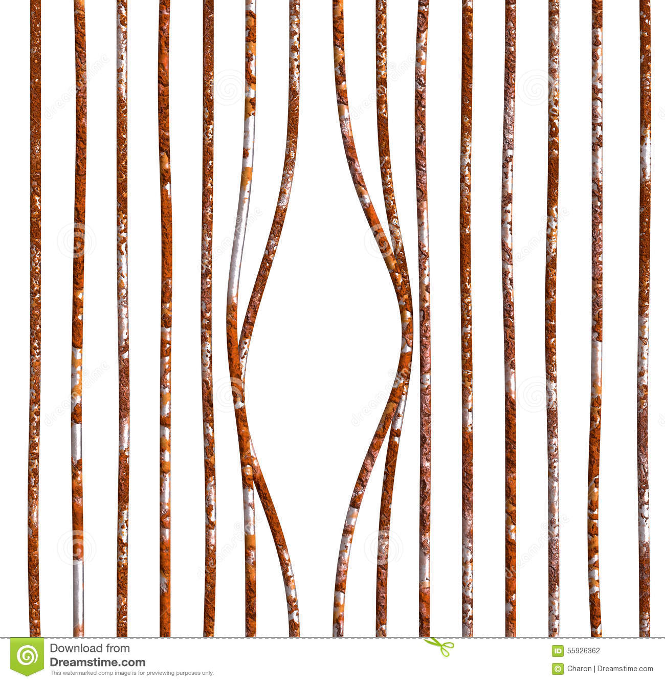 Damaged Rust Bars Empty Prison Stock Photo - Image: 55926362