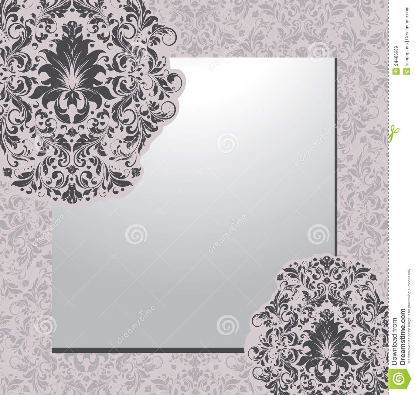 Damask Background Invitation Card Stock Vector