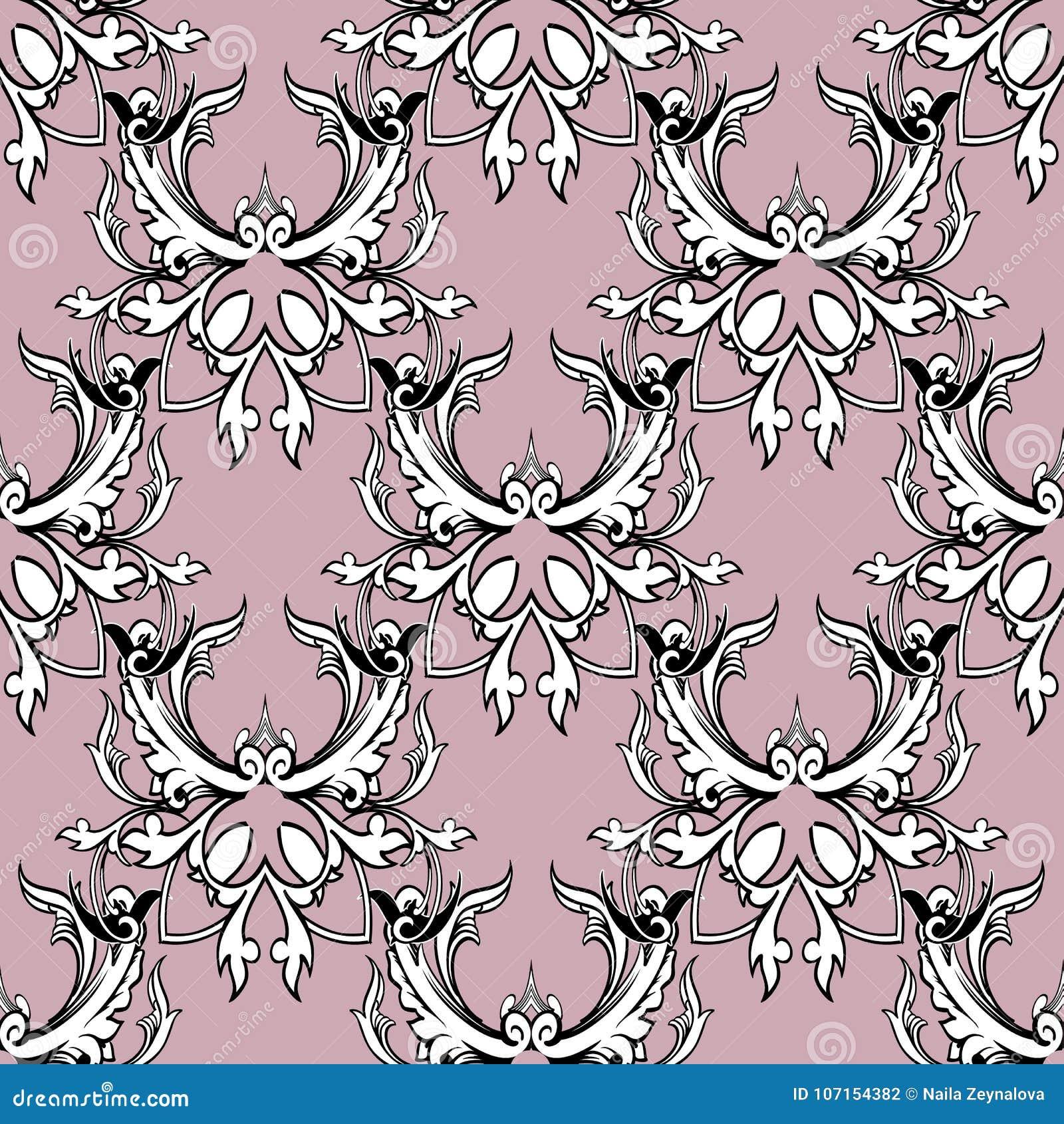 Damask Floral Seamless Pattern Light Pink Background