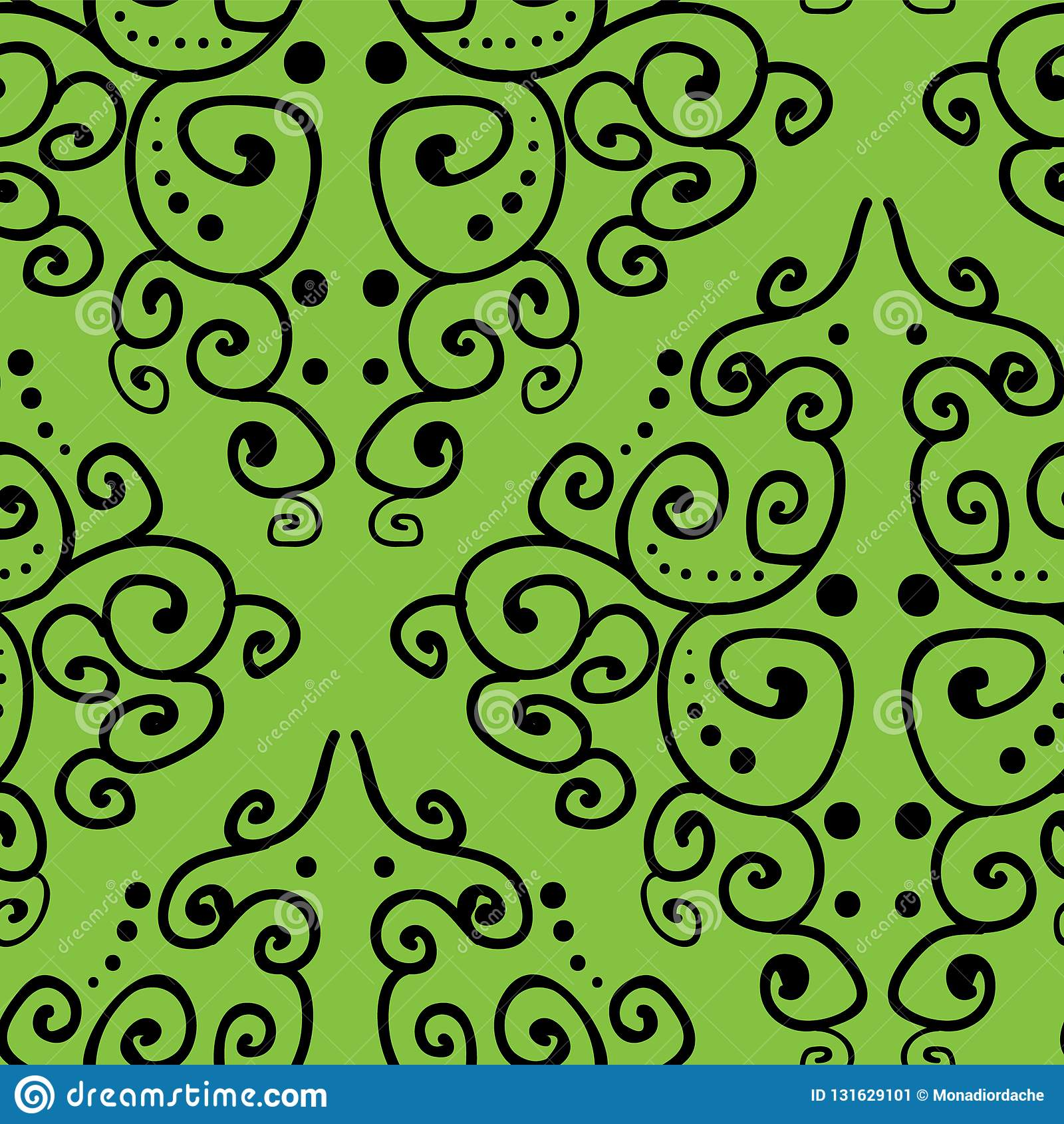 Damask inspired hand drawn line art on green background seamless pattern.