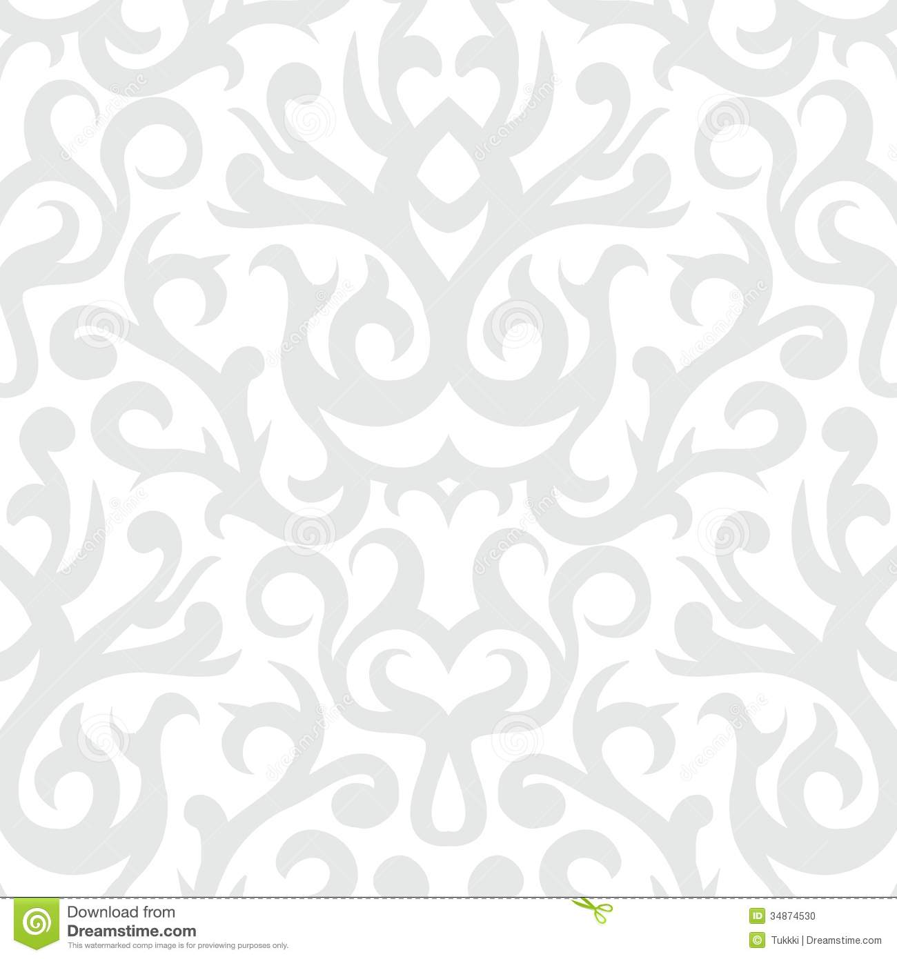 Damask Pattern In White And Silver Stock Vector