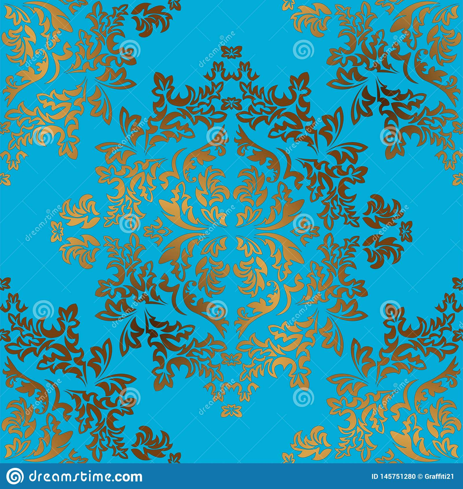 Damask Seamless Golden Ornament. Traditional Vector