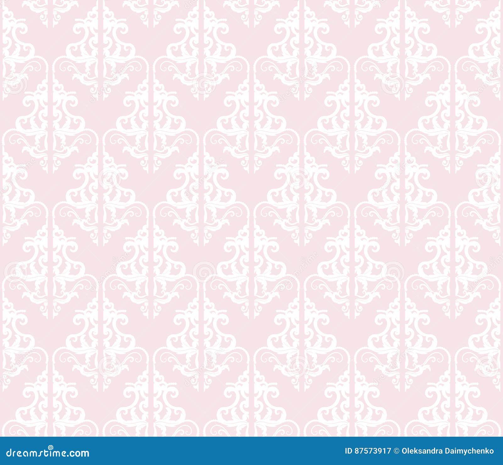 Damask Seamless Pattern Background Pastel Pink And White Vintage