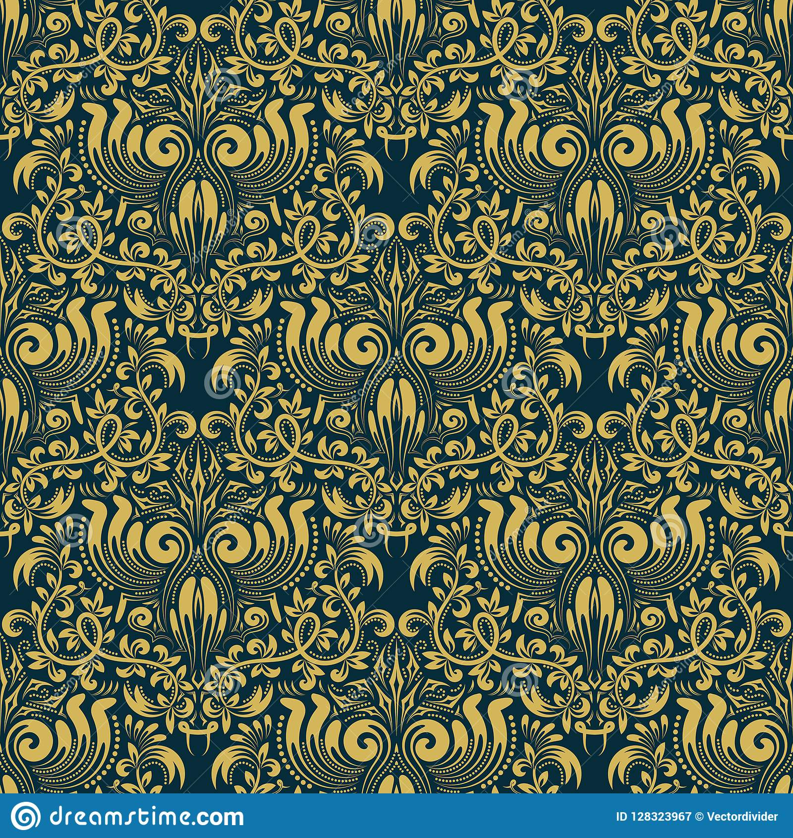 Damask Seamless Pattern Repeating Background Golden Blue Floral Ornament In Baroque Style