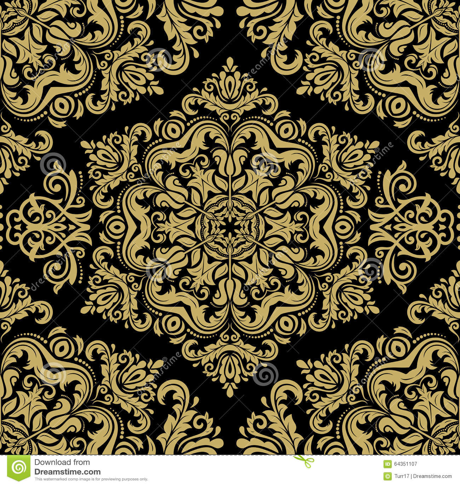 Damask Seamless Vector Golden Pattern Stock Vector