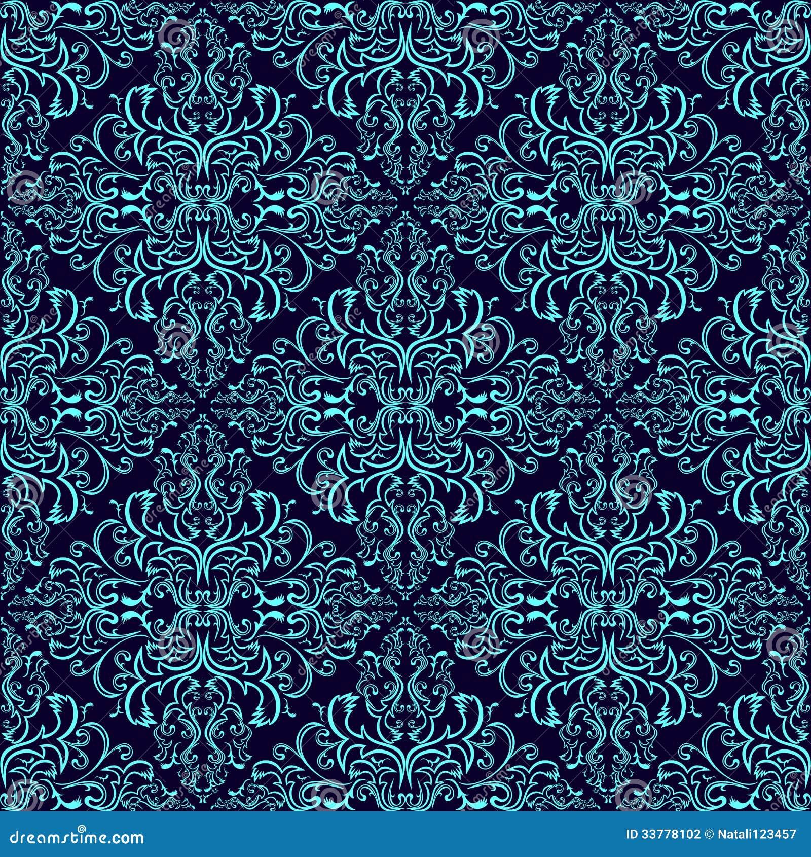 Damask Seamless Wallpaper Blue On Dark Blue Stock Vector