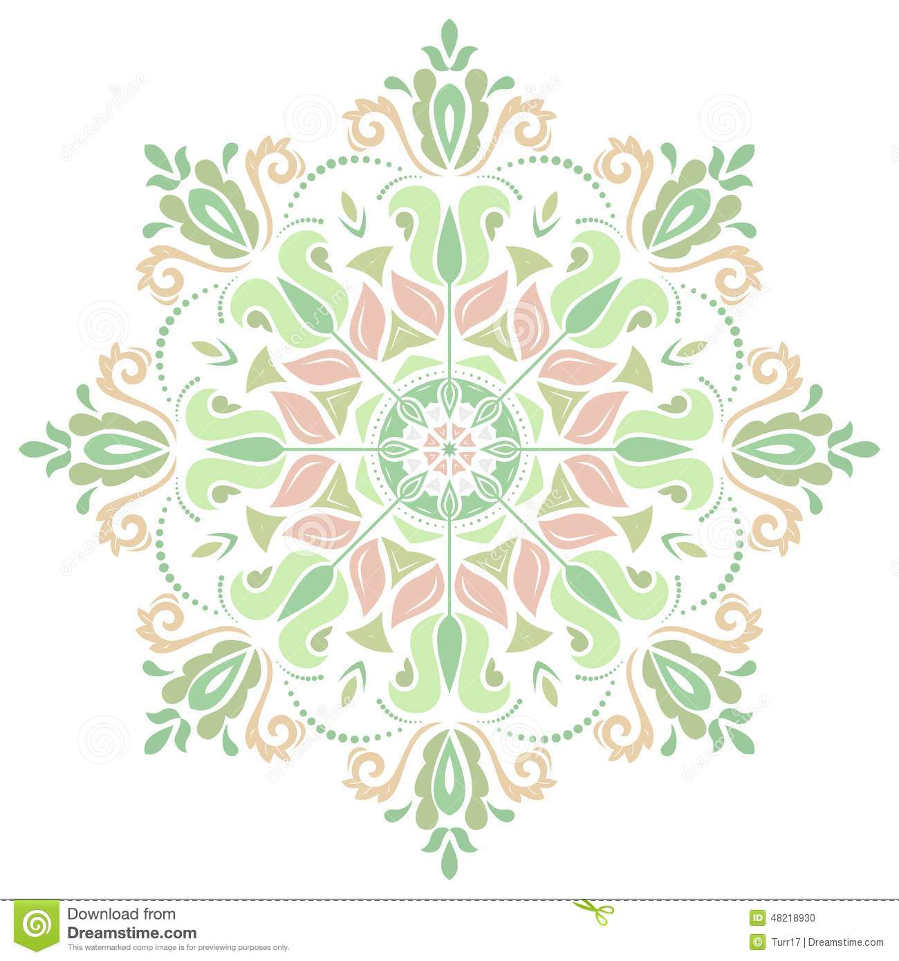 Damask Vector Pattern. Orient Background Stock Vector