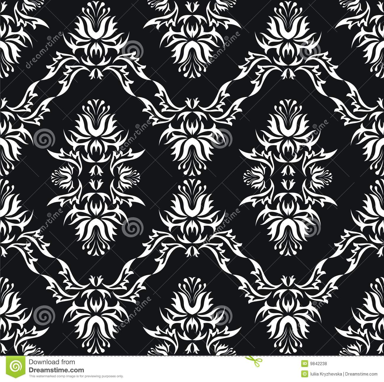 Damask (Victorian) Seamless Black Texture Stock Vector ...