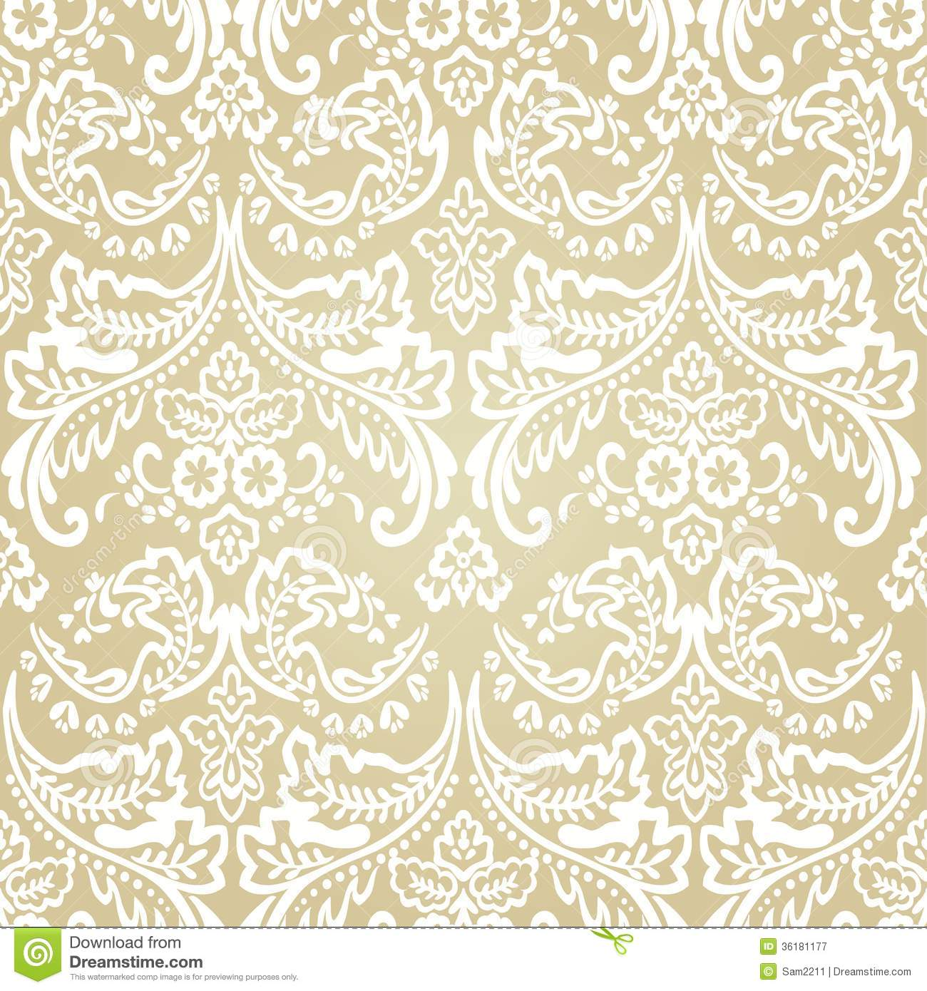 Damask Vintage Floral Seamless Pattern Background Stock