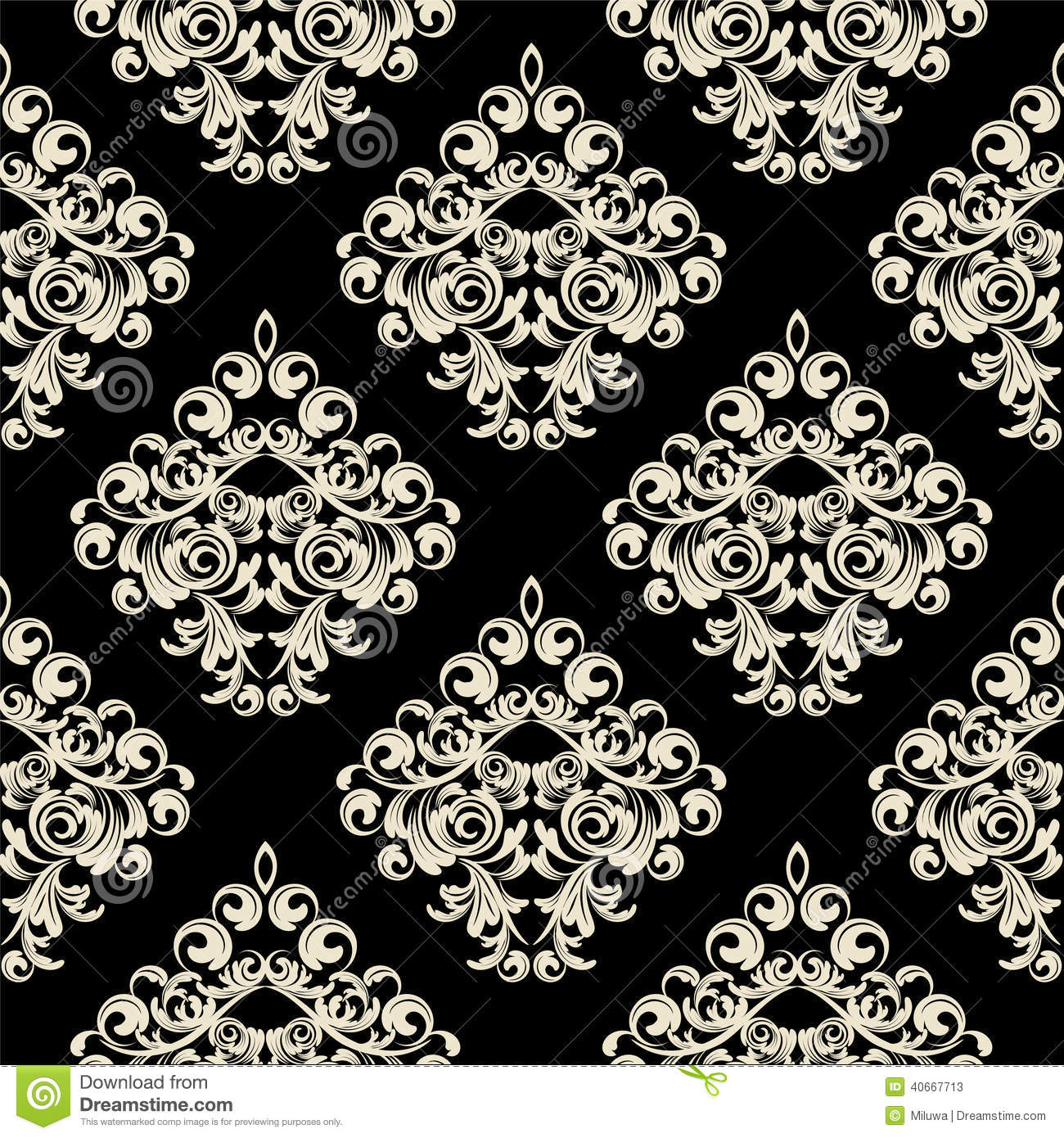 Damask wallpaper stock vector image of intricacy for Black white damask wallpaper mural