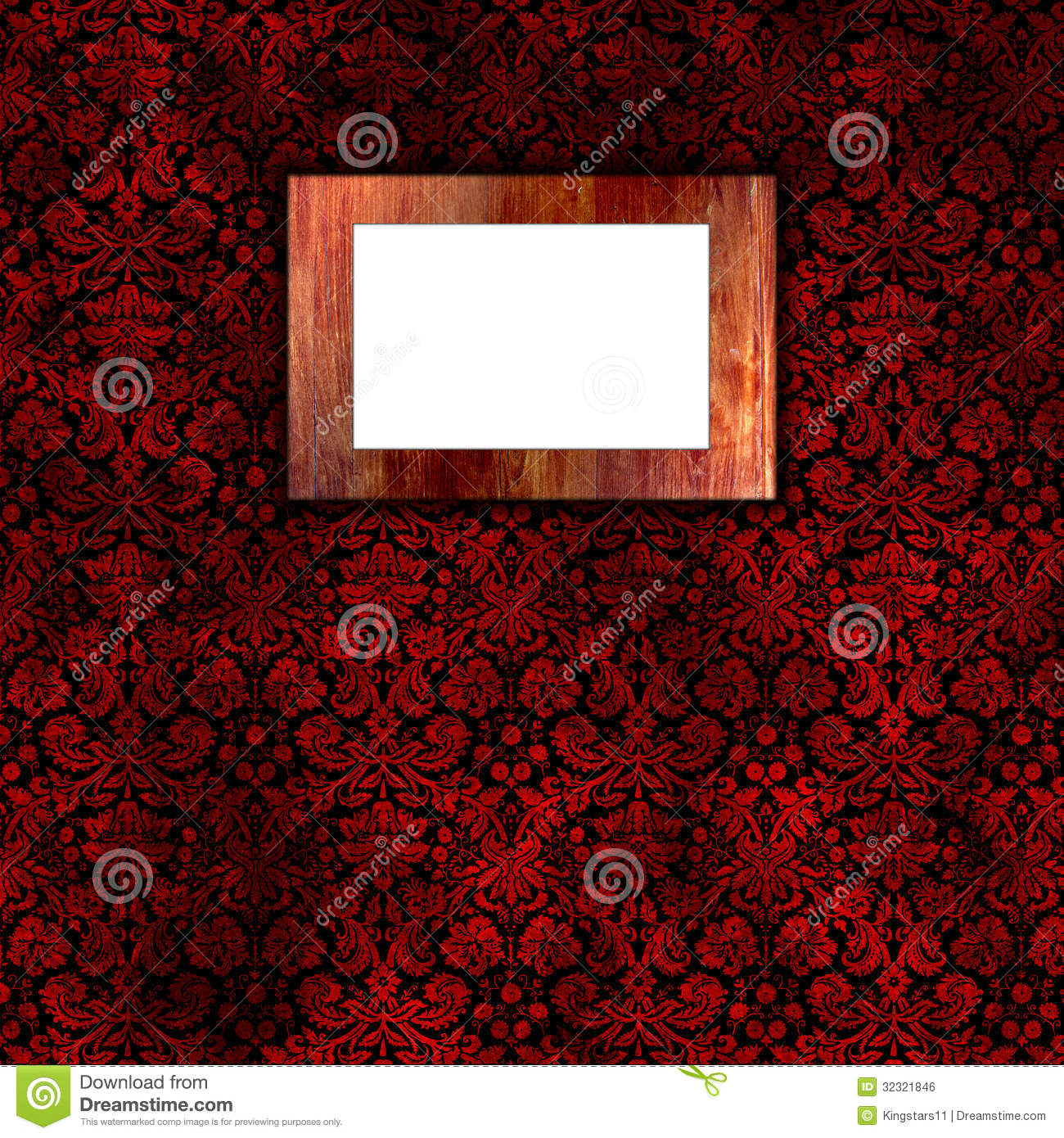 Damask wallpaper with wooden frame 3 Royalty Free Stock Image - Red Damask Wallpaper Stock Photo - Image: 9894070