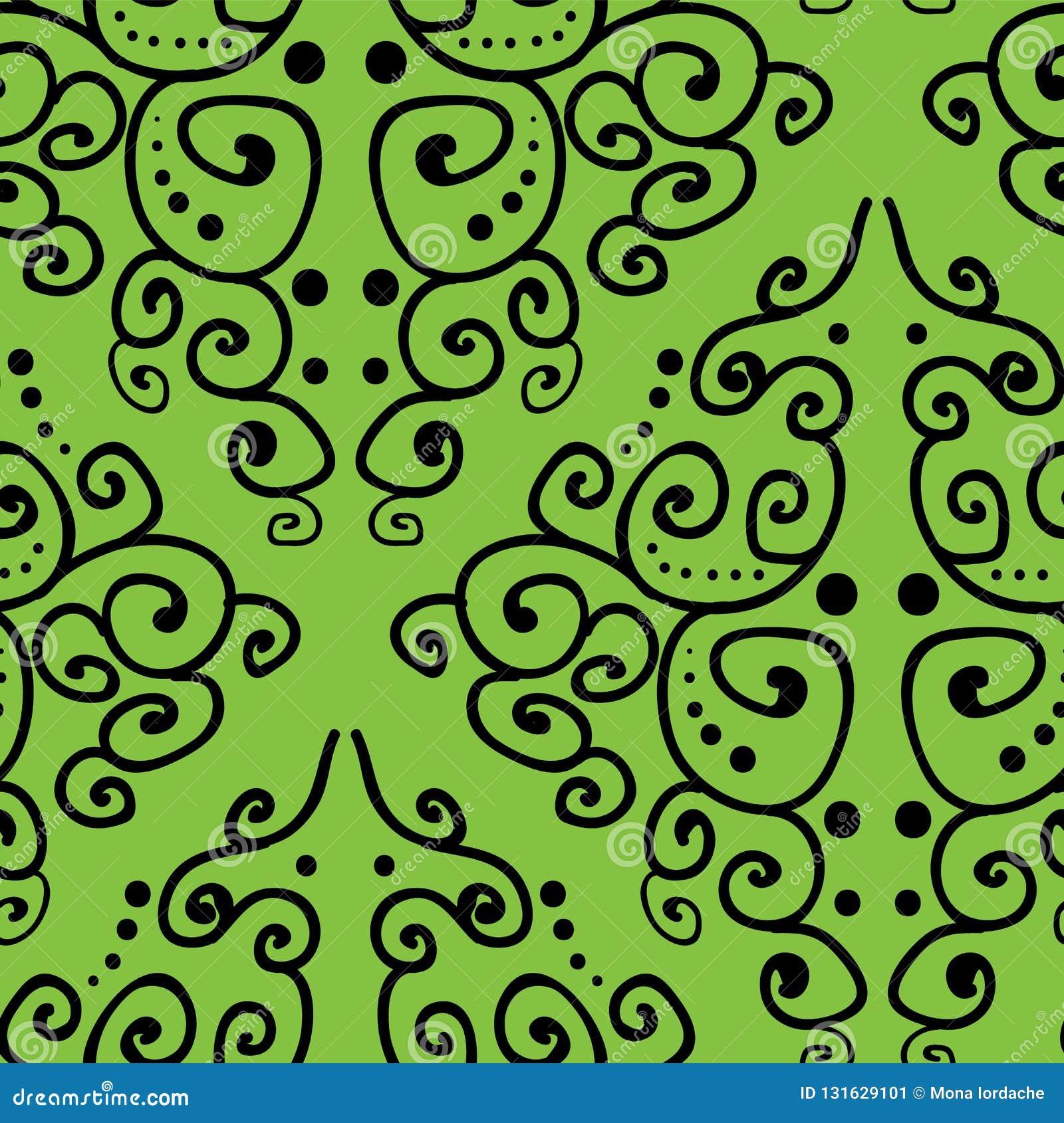Damast angespornte Handgezogene Linie Kunst auf nahtlosem Muster des grünen Hintergrundes