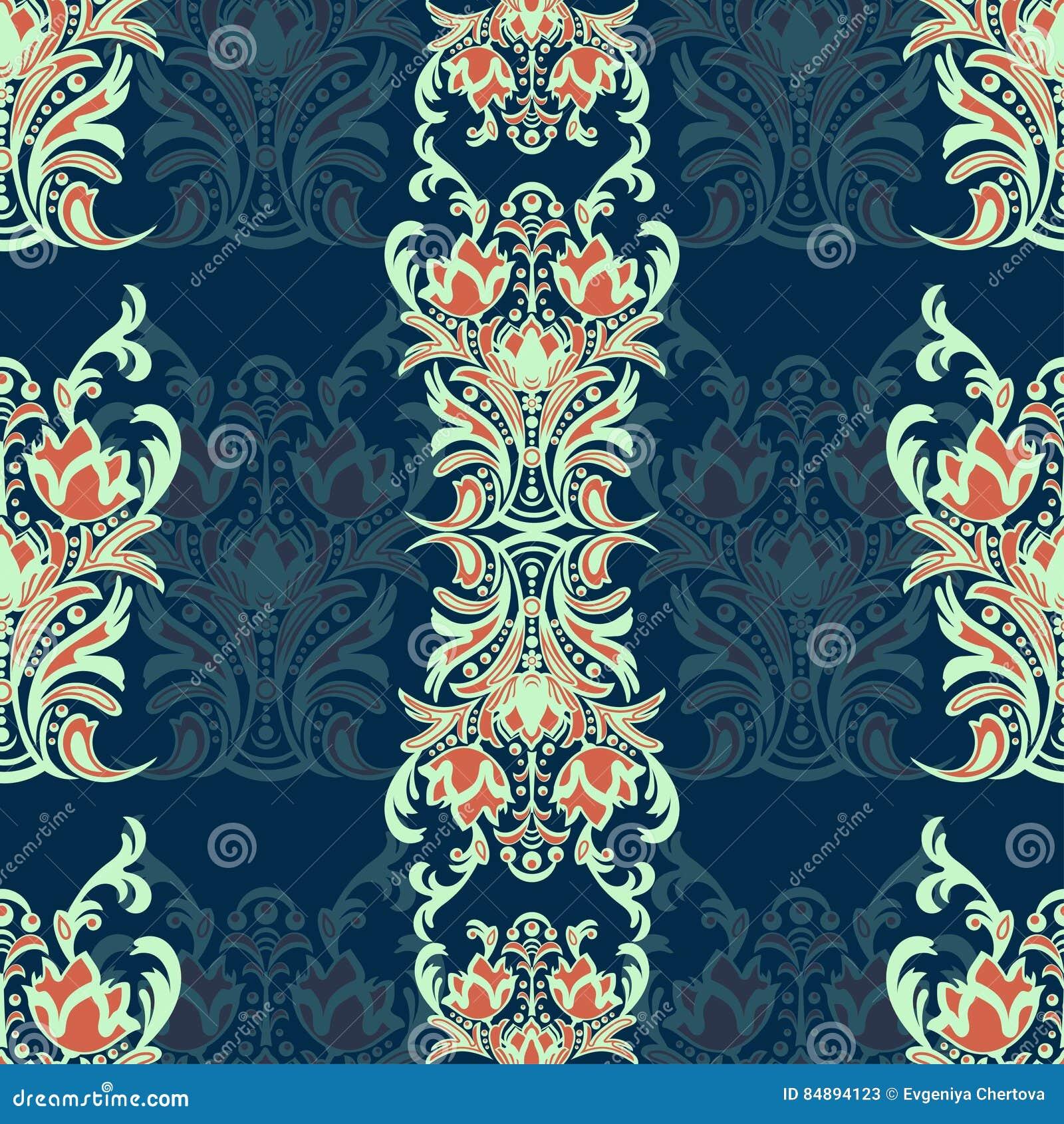 Damast blom- sömlös modell med arabesquen, flerfärgad orientalisk prydnad Abstrakt traditionell dekor för bakgrunder naturligt M
