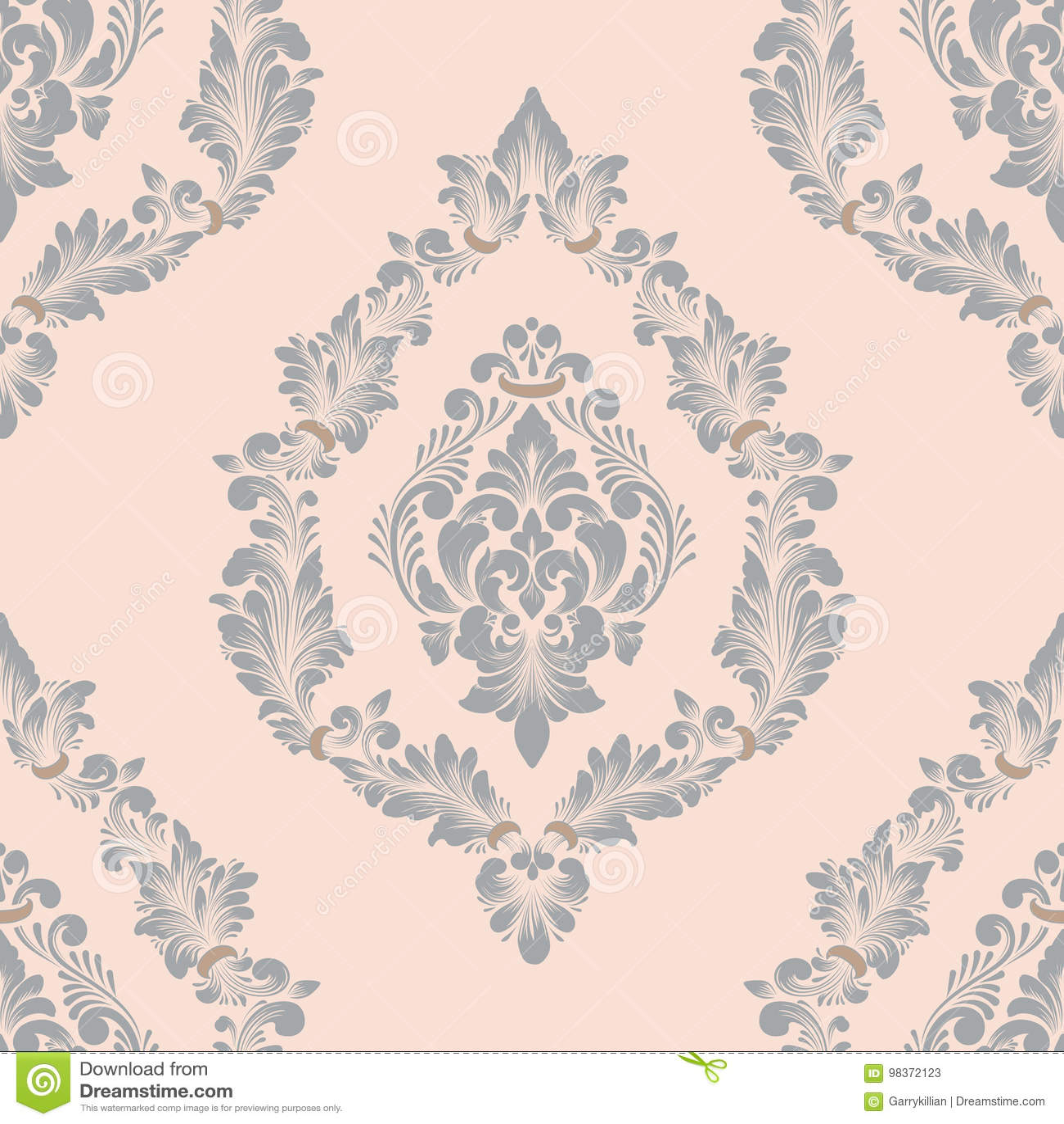 Damast sömlös modellbeståndsdel för vektor Klassisk lyxig gammalmodig damast prydnad, sömlös textur för kunglig victorian