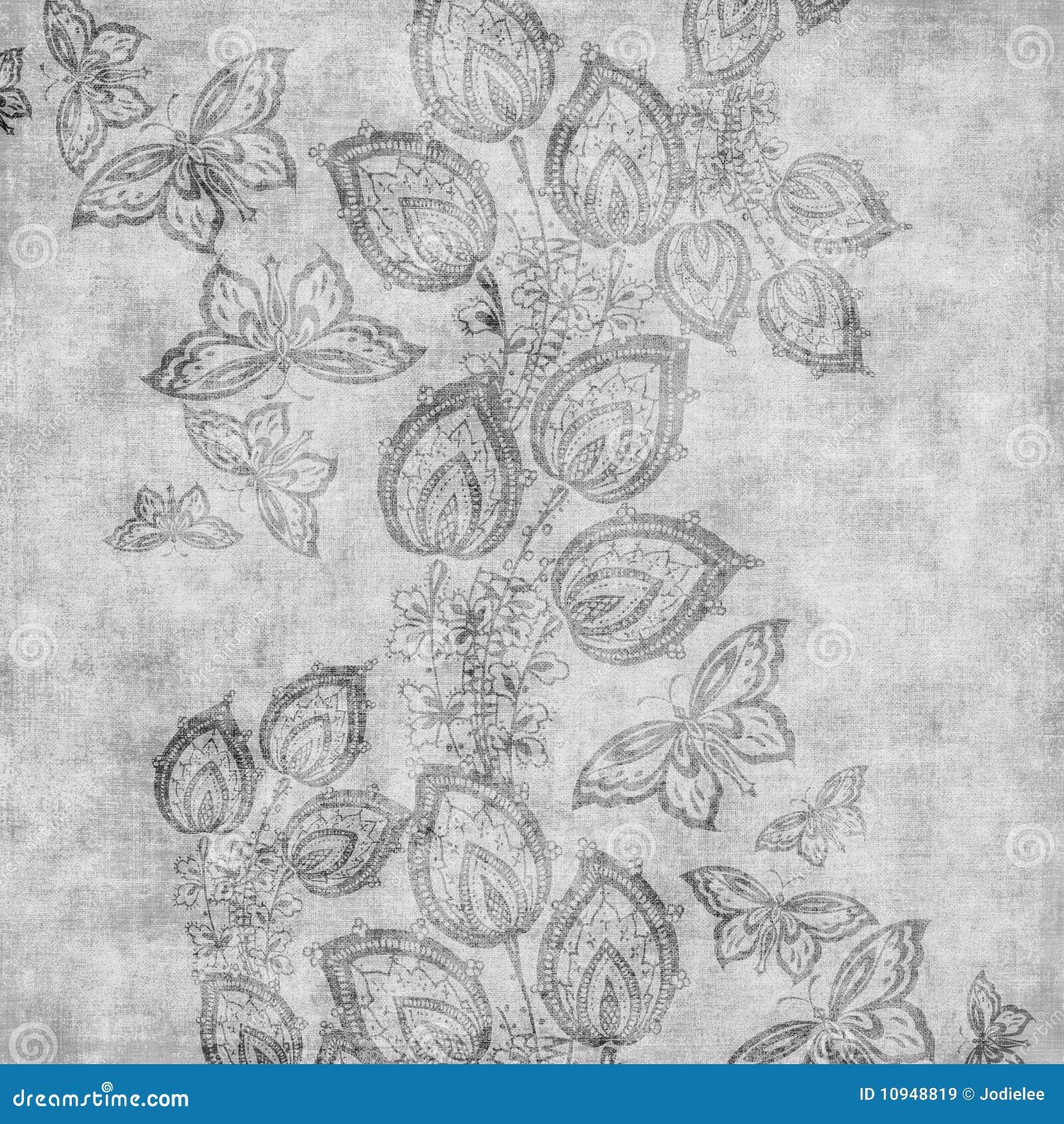 Damastast blom- grungy scrapbooktappning för bakgrund
