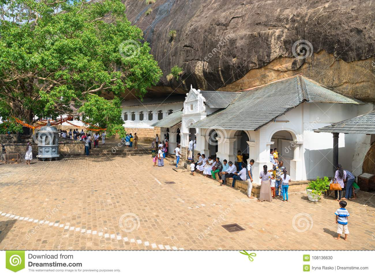 Dambulla golden temple cave complex buildinds is destination for